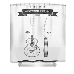 1941 Guitar Patent Drawing Shower Curtain by Aged Pixel