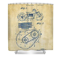 1941 Indian Motorcycle Patent Artwork - Vintage Shower Curtain by Nikki Marie Smith