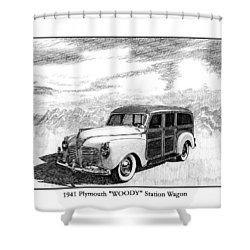 1941 Plymouth Woody Shower Curtain by Jack Pumphrey