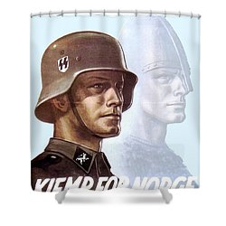 1943 - German Waffen Ss Recruitment Poster - Norway - Color Shower Curtain