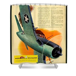 1943 - Nash Kelvinator Advertisement - Corsair - United States Navy - Color Shower Curtain