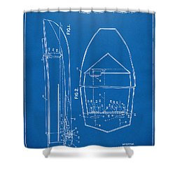 1943 Chris Craft Boat Patent Blueprint Shower Curtain by Nikki Marie Smith