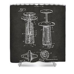 1944 Wine Corkscrew Patent Artwork - Gray Shower Curtain by Nikki Marie Smith
