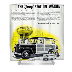 1946 - Willys Overland Jeep Station Wagon Advertisement - Color Shower Curtain