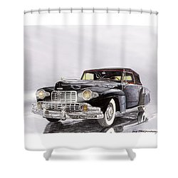 1946 Lincoln Continental Convertible Foggy Reflection Shower Curtain by Jack Pumphrey
