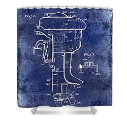 1947 Outboard Motor Patent Drawing Blue Shower Curtain