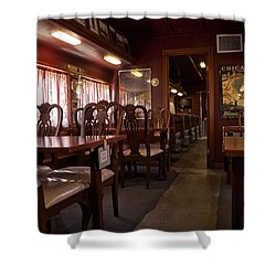 1947 Pullman Railroad Car Dining Room Shower Curtain by Thomas Woolworth