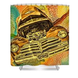 1948 Chev Gold Tie Dye Tilt Car Art Shower Curtain