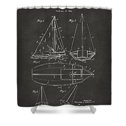 1948 Sailboat Patent Artwork - Gray Shower Curtain by Nikki Marie Smith