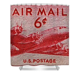 1949 Dc-4 Skymaster Air Mail Stamp Shower Curtain by Bill Owen