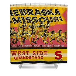 1949 Football Ticket - Nebraska Vs Missouri Shower Curtain by David Patterson