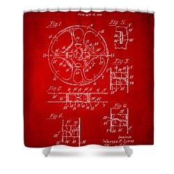 1949 Movie Film Reel Patent Artwork - Red Shower Curtain by Nikki Marie Smith