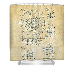 1949 Movie Film Reel Patent Artwork - Vintage Shower Curtain by Nikki Marie Smith