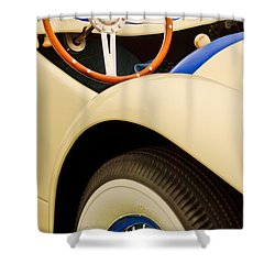 1950 Eddie Rochester Anderson Emil Diedt Roadster Steering Wheel Shower Curtain by Jill Reger