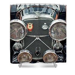 1950 Jaguar Xk120 Roadster Grille Shower Curtain by Jill Reger
