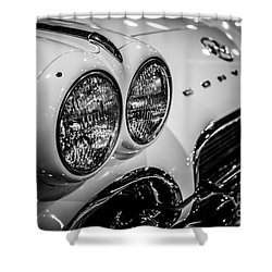 1950's Chevrolet Corvette C1 In Black And White Shower Curtain by Paul Velgos