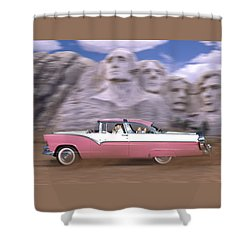 1950s Family Vacation Panoramic Shower Curtain by Mike McGlothlen