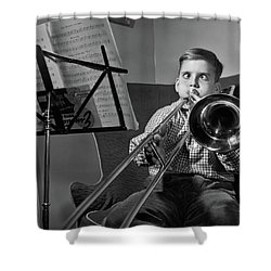 1950s Funny Cross-eyed Boy Playing Shower Curtain