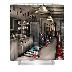 1950's - The Soda Fountain Shower Curtain by Mike Savad