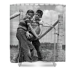 1950s Two Farm Boys In Striped T-shirts Shower Curtain