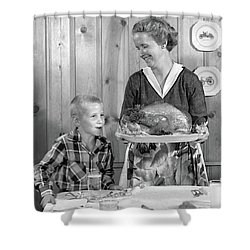 1950s Woman In Apron Putting Turkey Shower Curtain