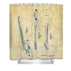 1951 Fender Electric Guitar Patent Artwork - Vintage Shower Curtain