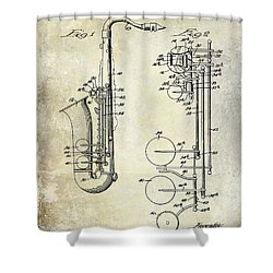 1951 Saxophone Patent Drawing Shower Curtain