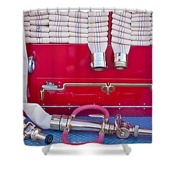 1952 L Model Mack Pumper Fire Truck Hoses Shower Curtain by Jill Reger
