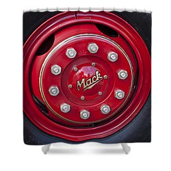 1952 L Model Mack Pumper Fire Truck Wheel Shower Curtain by Jill Reger