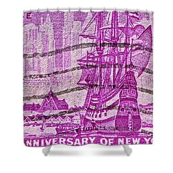 1953 300th Anniversary Of New York City Stamp Shower Curtain by Bill Owen