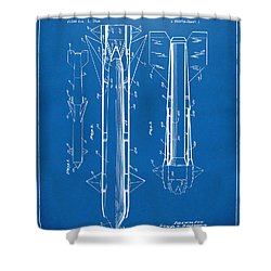 1953 Aerial Missile Patent Blueprint Shower Curtain by Nikki Marie Smith