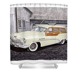 1953 Buick Estate Wagon Woody Shower Curtain by Jack Pumphrey