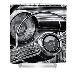 1953 Buick Super Dashboard And Steering Wheel Bw Shower Curtain