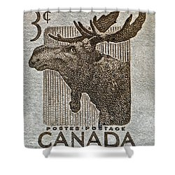 1953 Canada Moose Stamp Shower Curtain