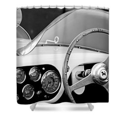 1953 Ferrari 340 Mm Lemans Spyder Steering Wheel Emblem Shower Curtain by Jill Reger