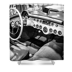 1954 Chevrolet Corvette Interior Black And White Picture Shower Curtain by Paul Velgos