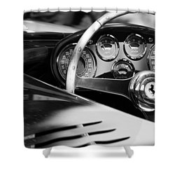 1954 Ferrari 500 Mondial Spyder Steering Wheel Emblem Shower Curtain by Jill Reger