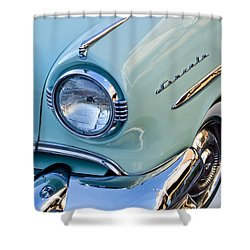 1954 Lincoln Capri Headlight Shower Curtain by Jill Reger