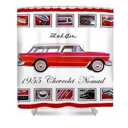 1955 Chevrolet Belair Nomad Art Shower Curtain