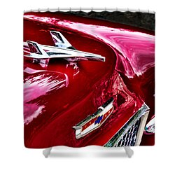 1955 Chevy Bel Air Hood Ornament Shower Curtain by Peggy Collins