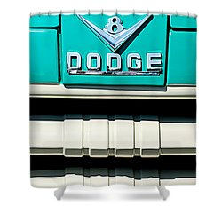 1955 Dodge C-3-b8 Pickup Truck Grille Emblem Shower Curtain by Jill Reger