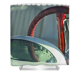 1955 Ford Thunderbird Steering Wheel Shower Curtain by Jill Reger