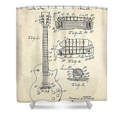 1955 Gibson Les Paul Patent Drawing Shower Curtain by Gary Bodnar