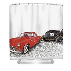 1955 Thunderbird And Kit Teardrop Shower Curtain by Jack Pumphrey