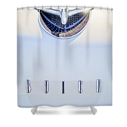 1956 Buick Special Hood Ornament Shower Curtain by Jill Reger