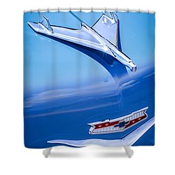 1956 Chevrolet 210 2-door Handyman Wagon Hood Ornament - Emblem Shower Curtain by Jill Reger