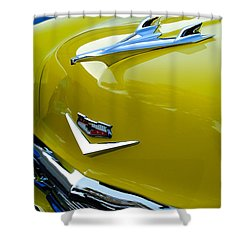 1956 Chevrolet Hood Ornament 3 Shower Curtain by Jill Reger