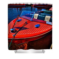 1956 Chris-craft Capri Classic Runabout Shower Curtain by David Patterson