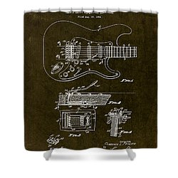 1956 Fender Tremolo Patent Drawing II Shower Curtain by Gary Bodnar