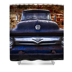 1956 Ford V8 Shower Curtain by Debra and Dave Vanderlaan